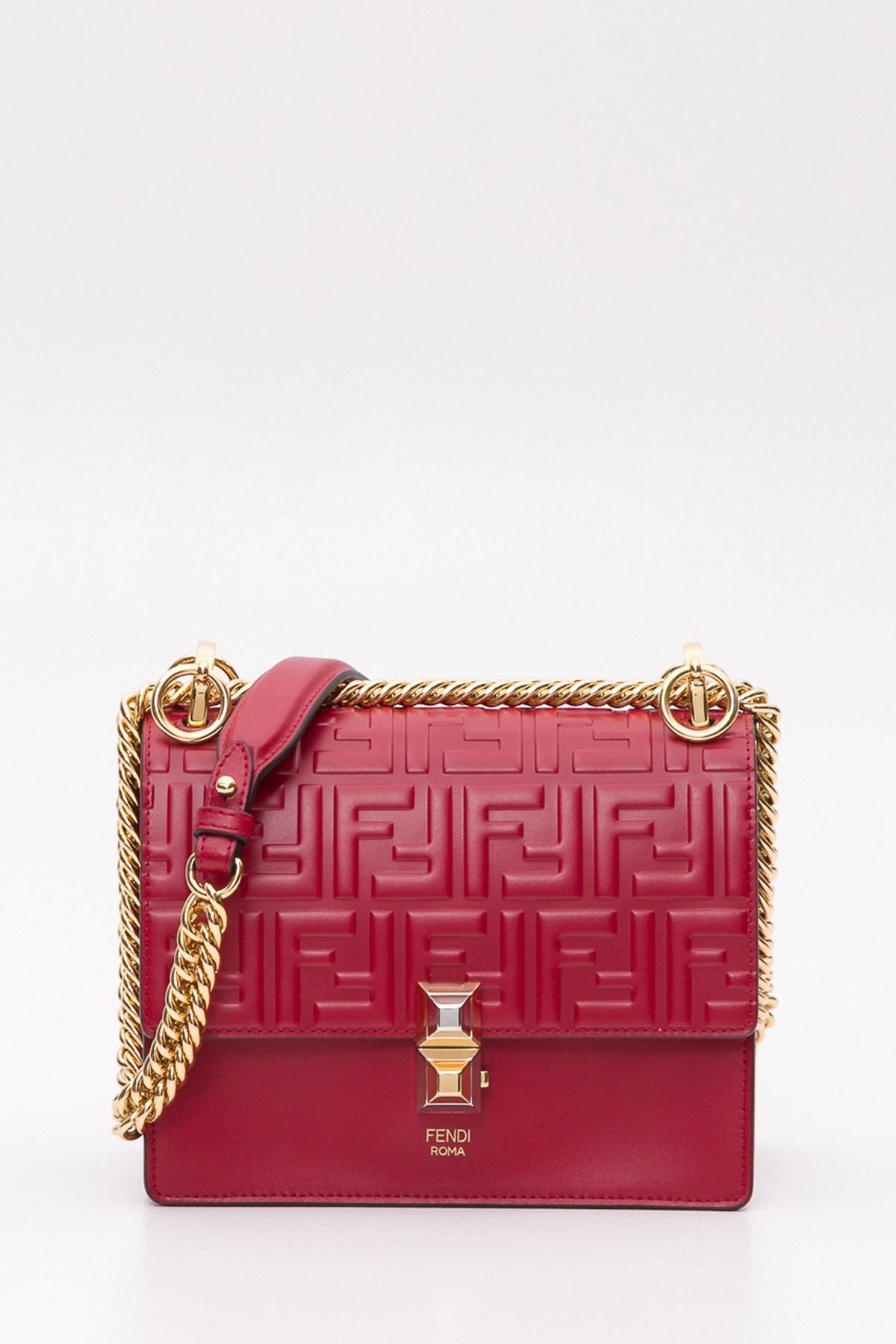 be5c95a5cf6e Lyst - Fendi Kan I Mini Shoulder Bag With Embossed Ff Motif in Red