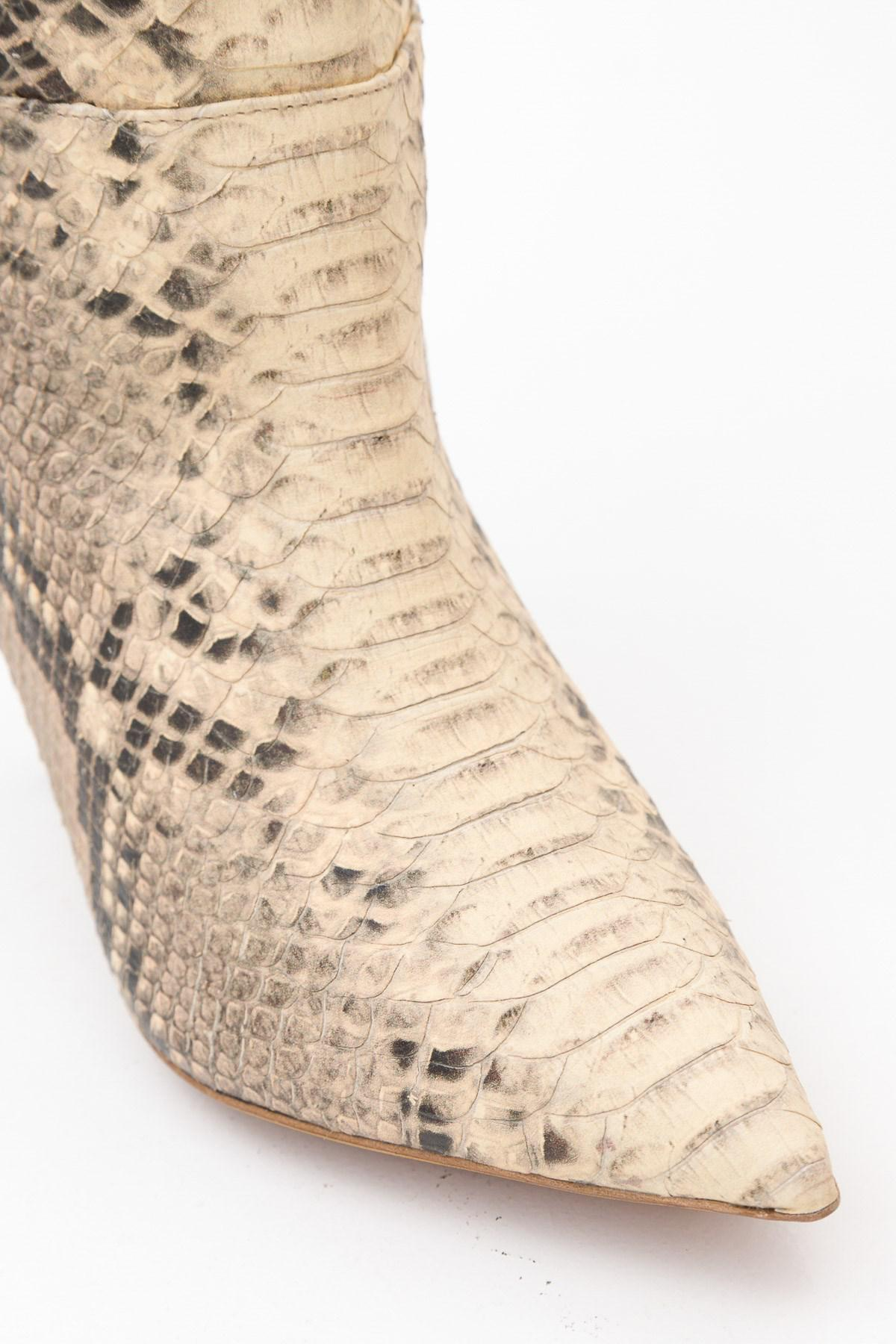239622149986d Lyst - Yeezy Season 7 Python Embossed Knee High Boots in Natural