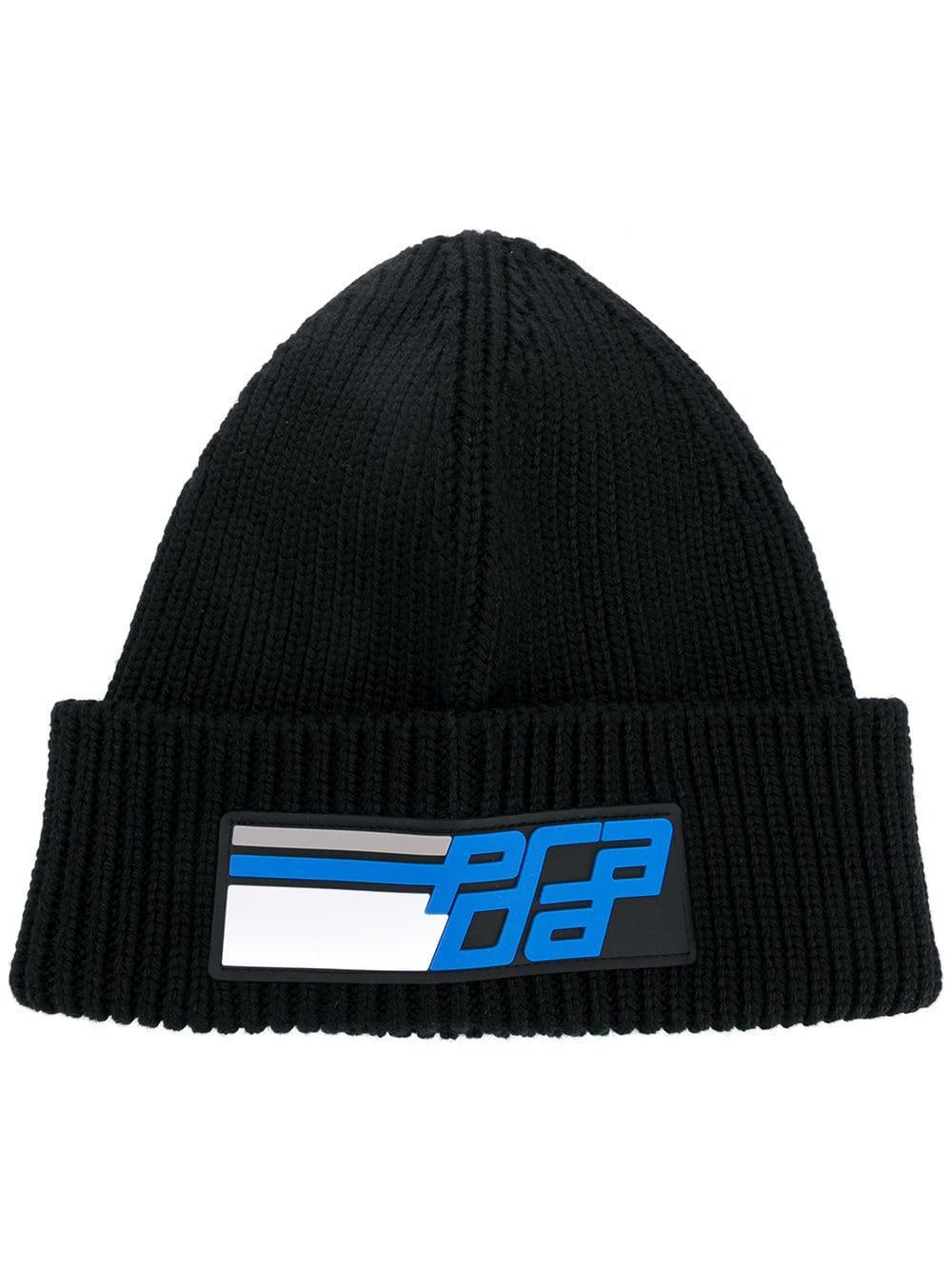 dbdd44c883b Lyst - Prada Patch Logo Beanie By in Black - Save 56%