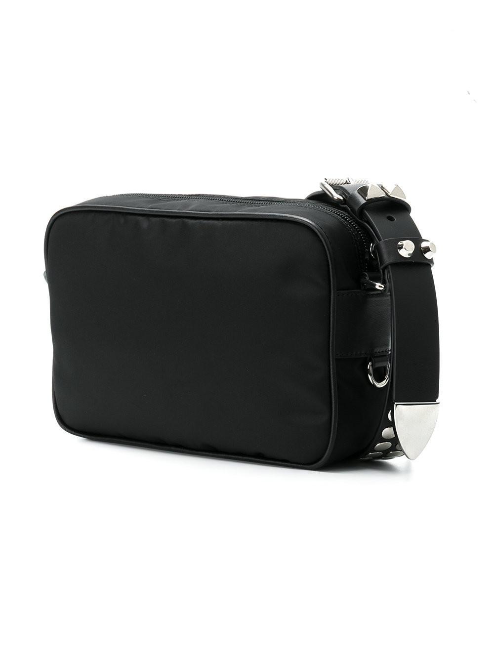 7f1bac827e57af Prada Black Studded Strap Textile Shoulder Bag in Black - Lyst