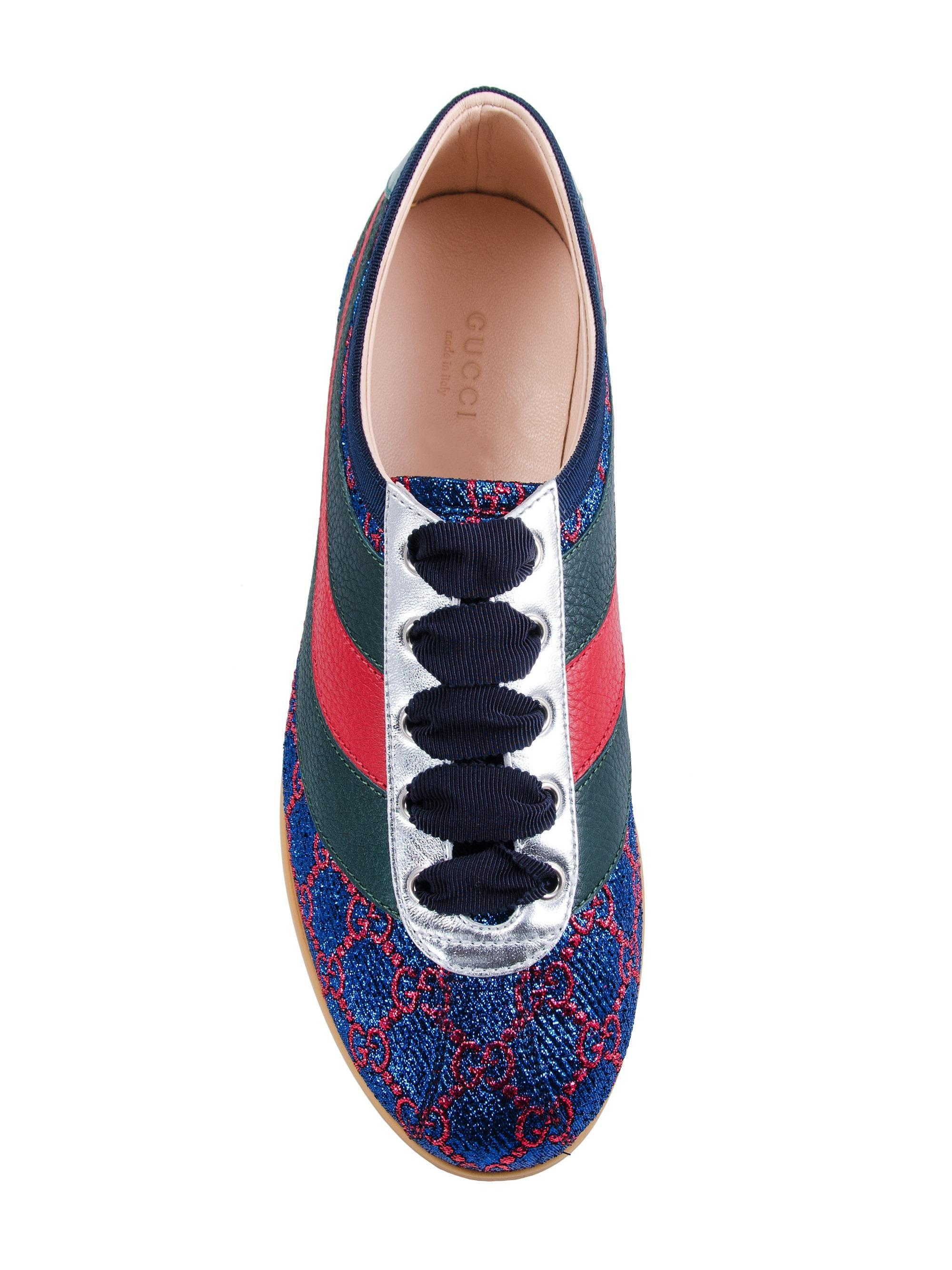 0dcf0892c Gucci Falacer Lurex GG Sneaker With Web in Blue - Save 29% - Lyst