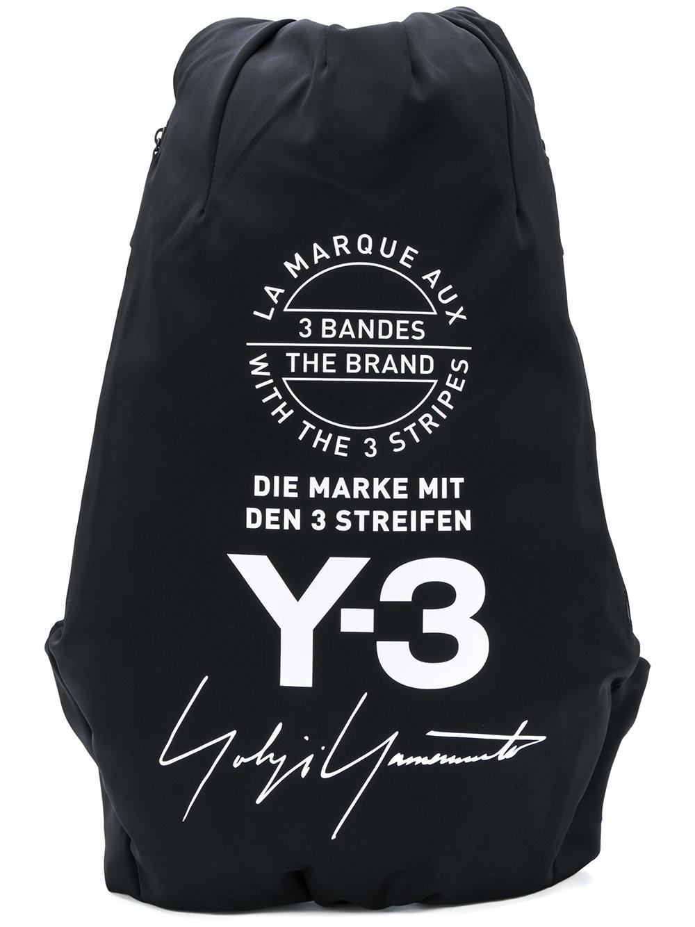 Y-3 Branded Backpack in Black for Men - Lyst c9c11462cfa96