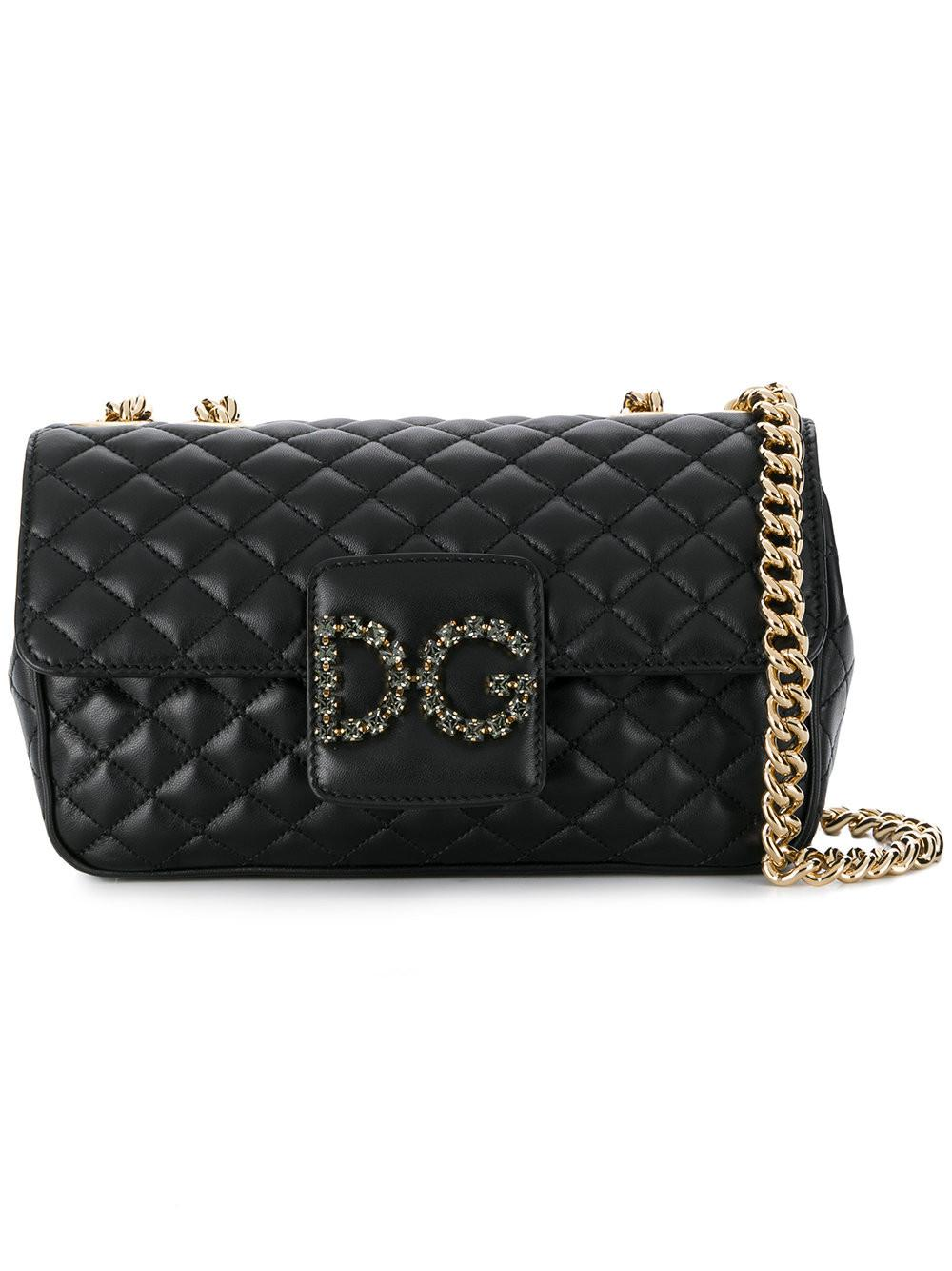 58a181585a4a Lyst - Dolce   Gabbana Quilted Logo Shoulder Bag in Black - Save ...