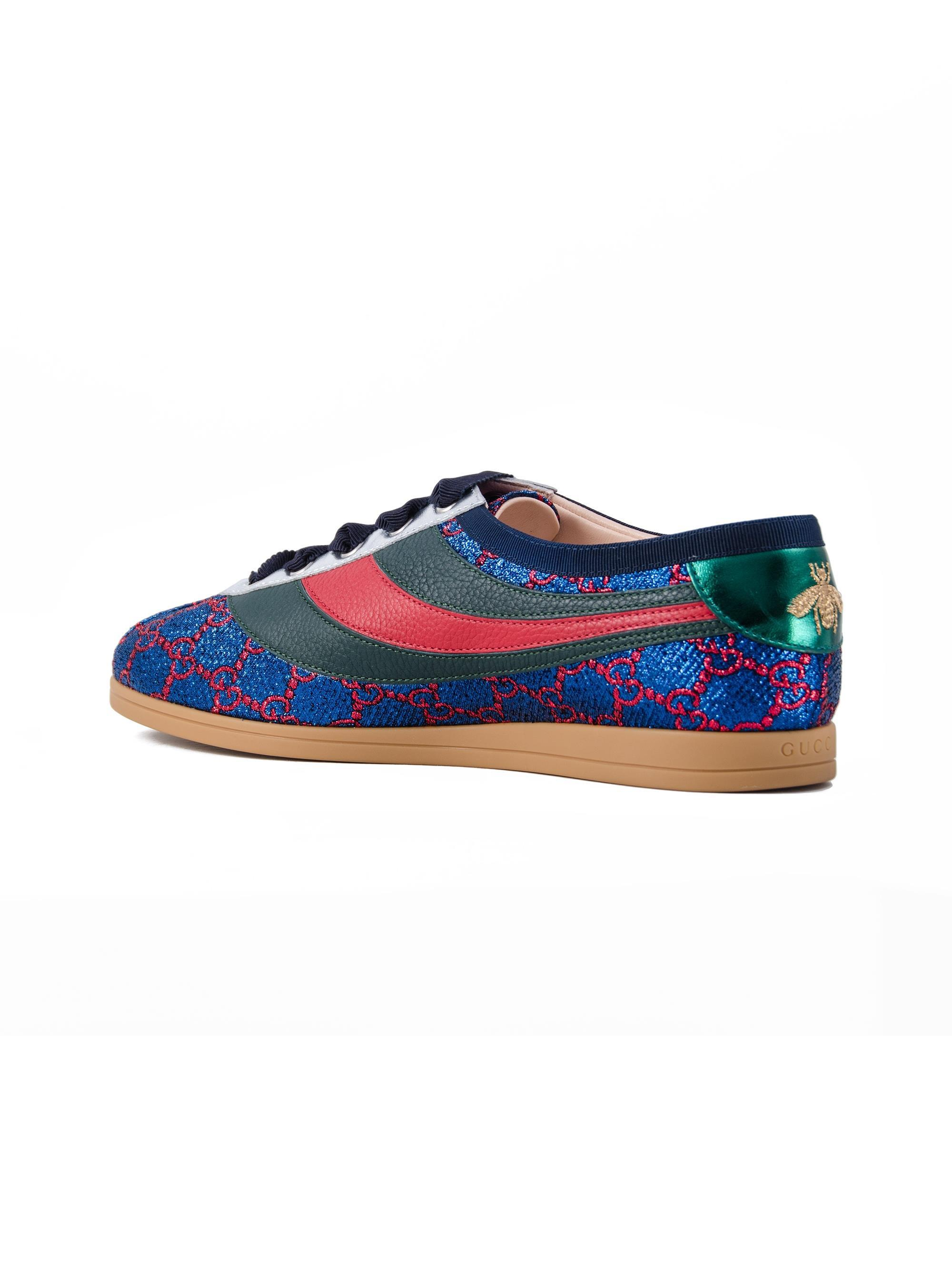 d1336896e5b Gucci - Blue Falacer Lurex GG Sneaker With Web - Lyst. View fullscreen