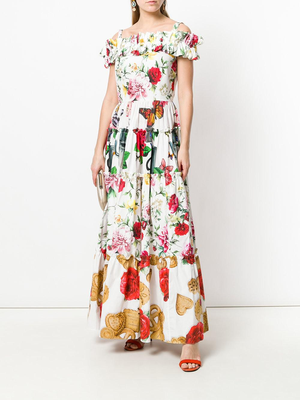 multi motif print maxi dress - White Dolce & Gabbana kT8qXzW