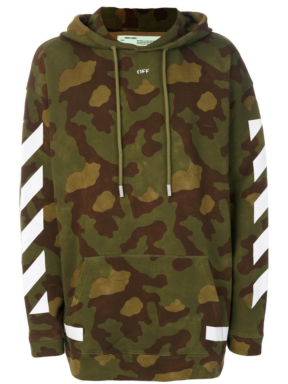 49a1605200a3 Lyst - Off-White c o Virgil Abloh Felpa Camouflage  arrows  in Green ...