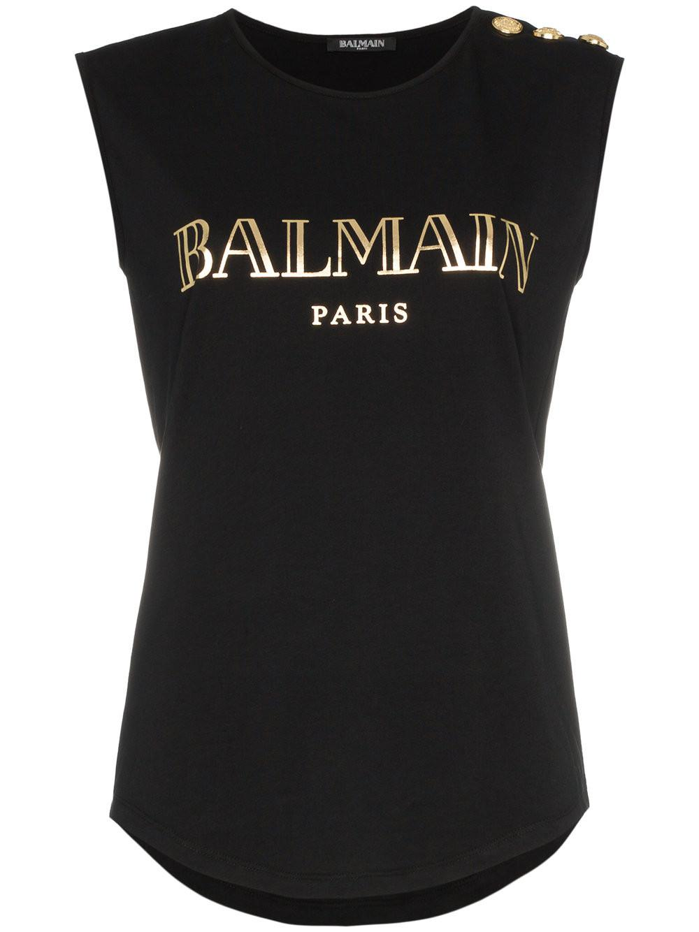 a7d5f8d2 Balmain - Black Printed Cotton Top - Lyst. View fullscreen