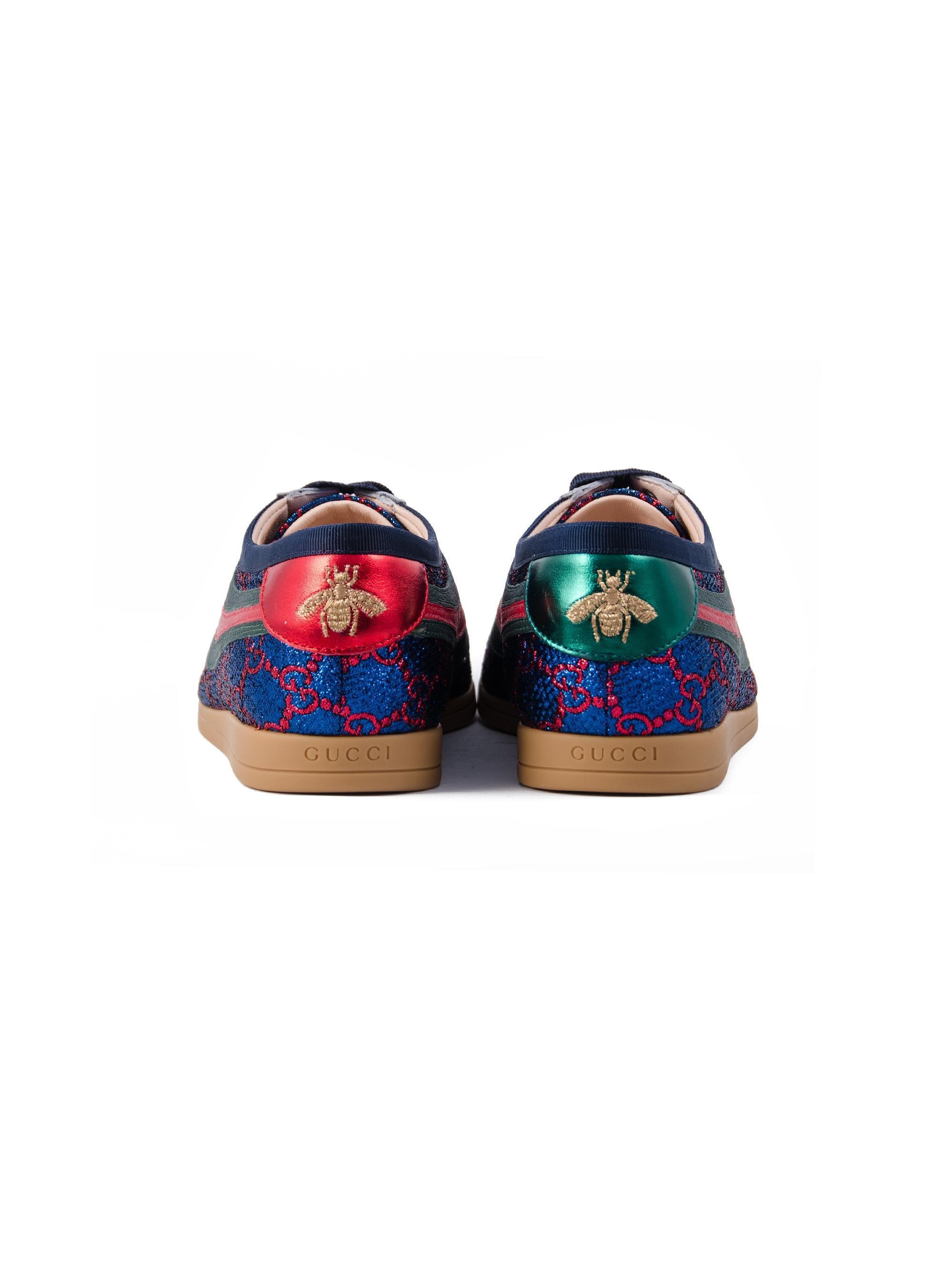 7b33bb44f Gucci - Blue Falacer Lurex GG Sneaker With Web - Lyst. View fullscreen
