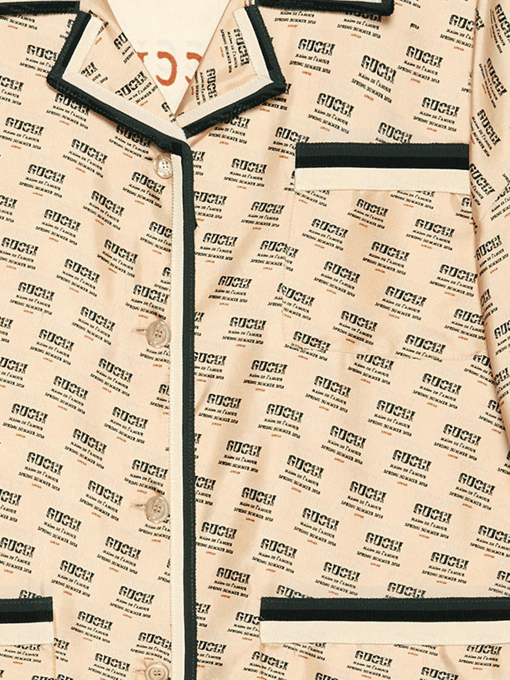0d02d61c5a48 Gucci - Multicolor Invite Stamp Silk Shirt - Lyst. View fullscreen