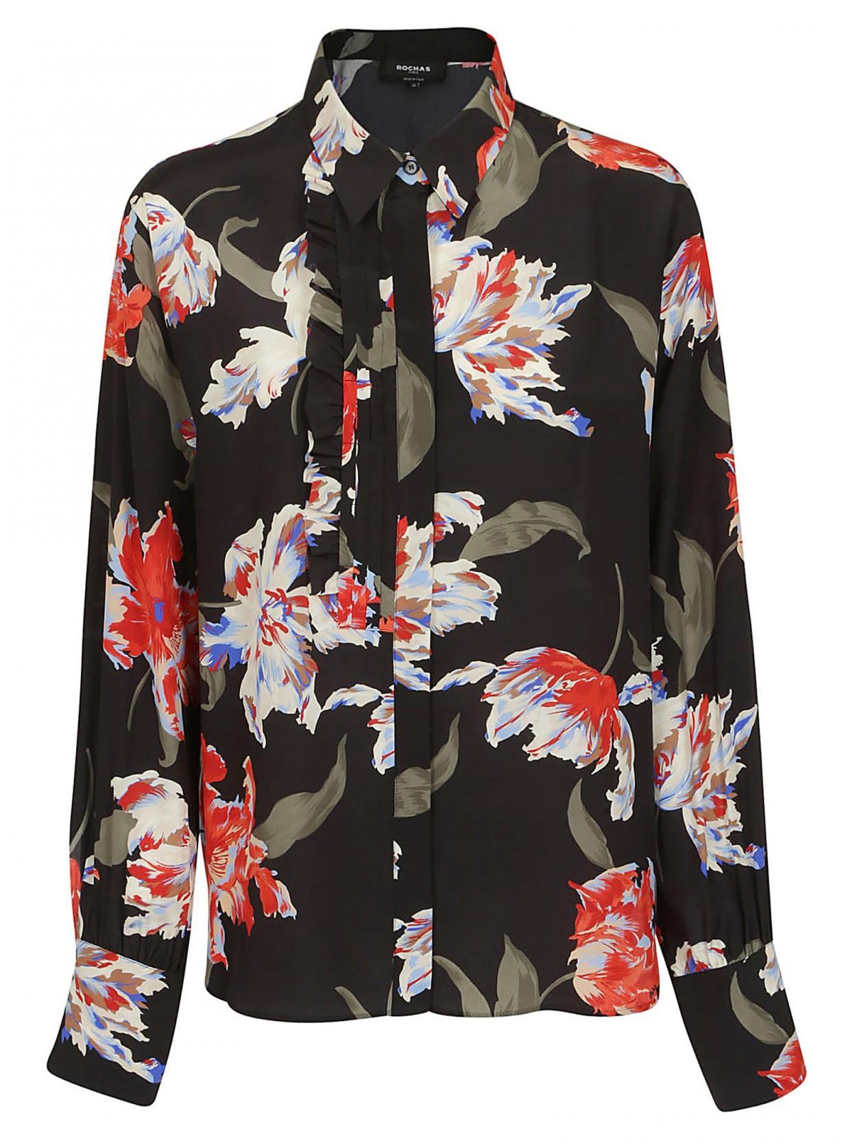 promo code a6945 dc572 Rochas ROCHAS camicia nera a fiori in seta in Black - Lyst