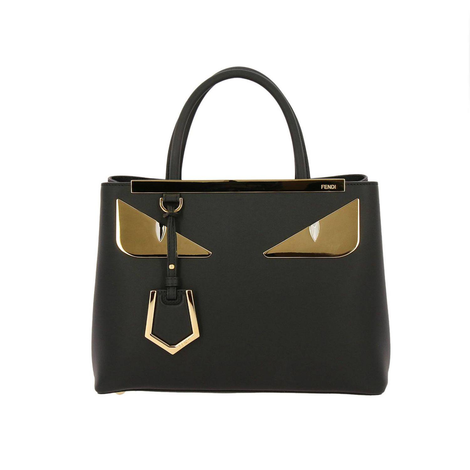 Fendi Monster Eyes Petite 2jours Bag In Century Leather With Maxi ... fbf7cb3eef503