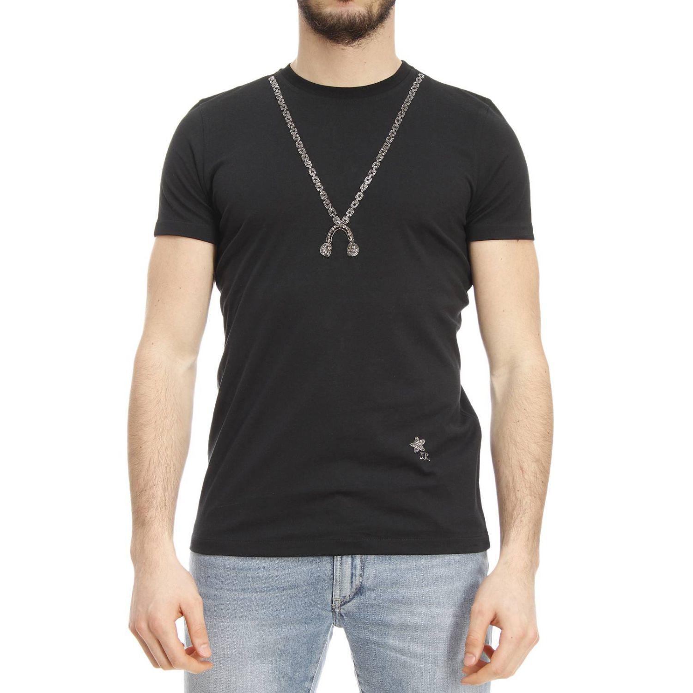 John richmond t shirt in black for men lyst for Richmond t shirt printing
