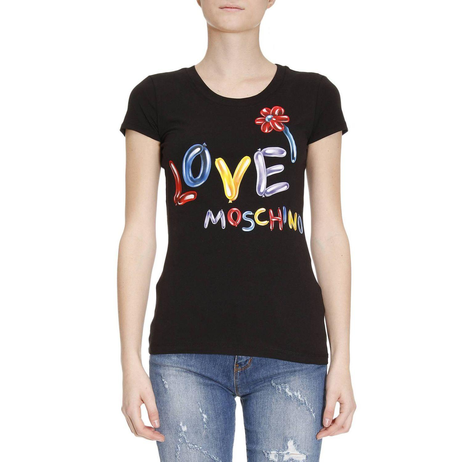 lyst love moschino t shirt women in black. Black Bedroom Furniture Sets. Home Design Ideas