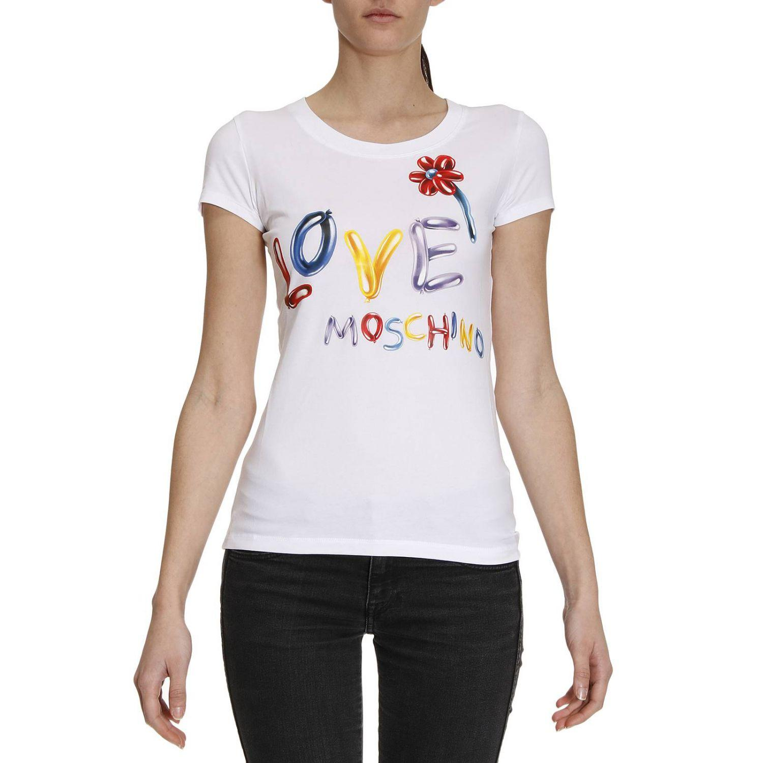 love moschino t shirt women in white lyst. Black Bedroom Furniture Sets. Home Design Ideas