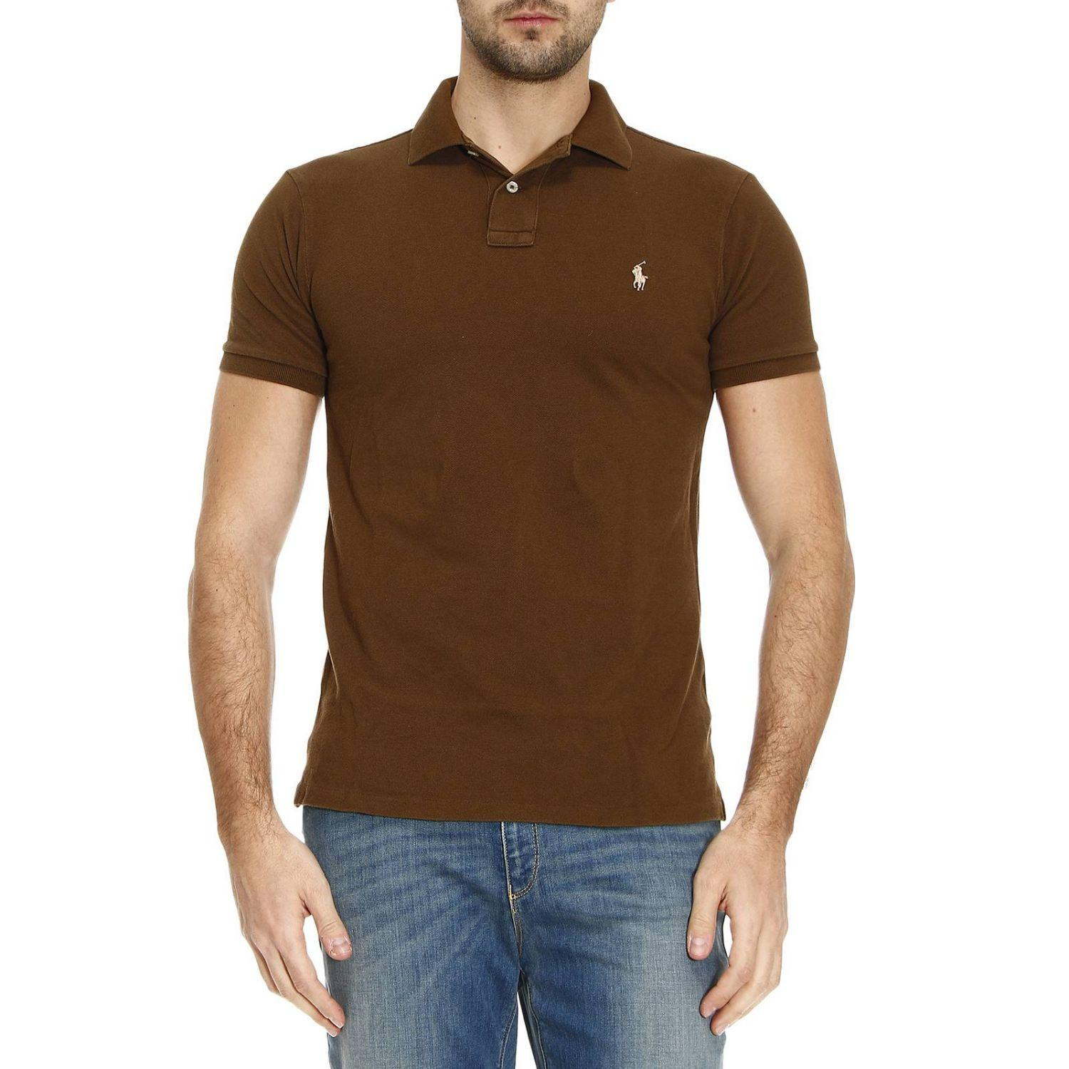 Lyst polo ralph lauren t shirt men in brown for men for Man in polo shirt