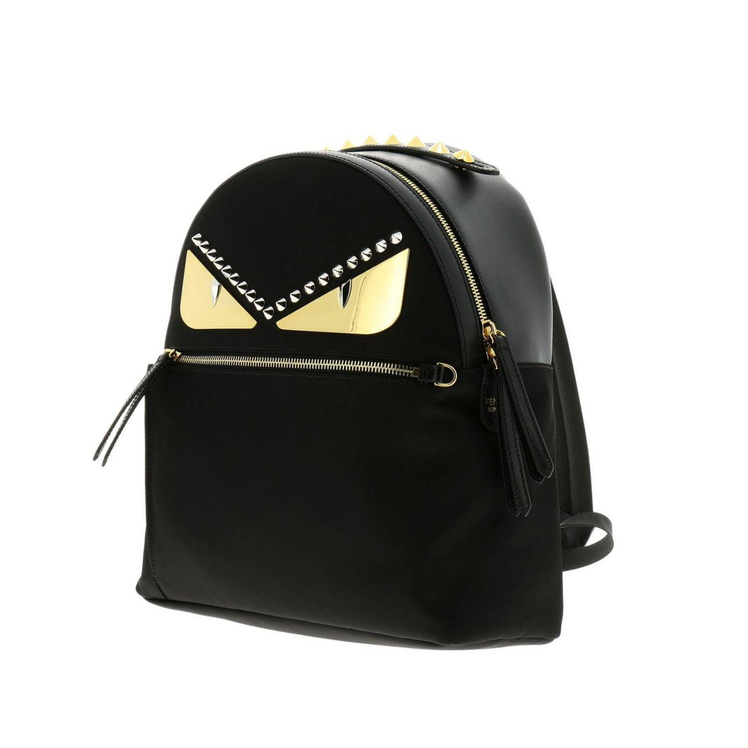 4de850802be2 Fendi - Black Monster Eyes Nylon And Leather Backpack With Bag Bugs Eyes  Metal Patch -. View fullscreen