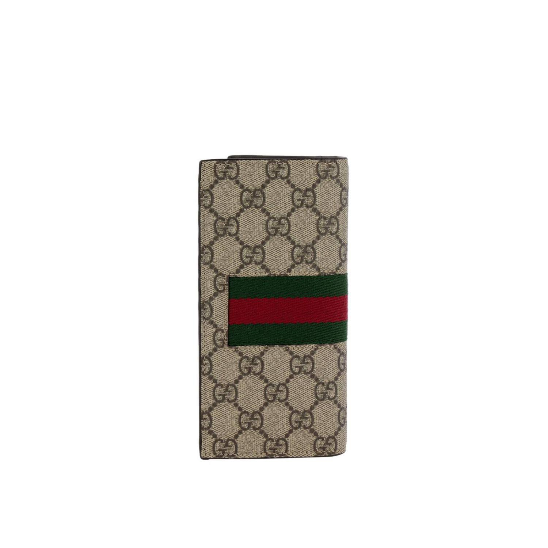 eadf409e7df08e Gucci Web Gg Supreme Long Wallet Beige in Natural for Men - Lyst