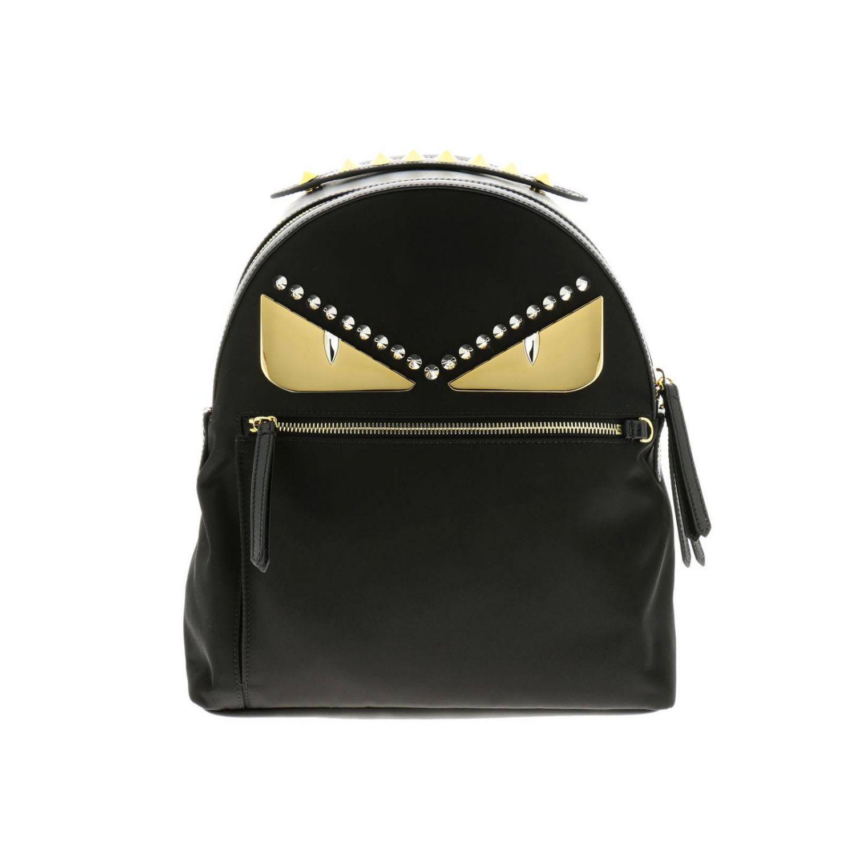 5e6965a480ed Fendi. Women s Black Monster Eyes Nylon And Leather Backpack With Bag ...