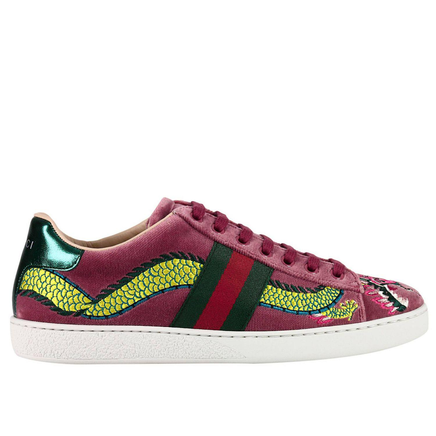 ab1e8bb2e842 Gucci Velvet New Ace Sneaker With Side Web Bands And Dragon ...