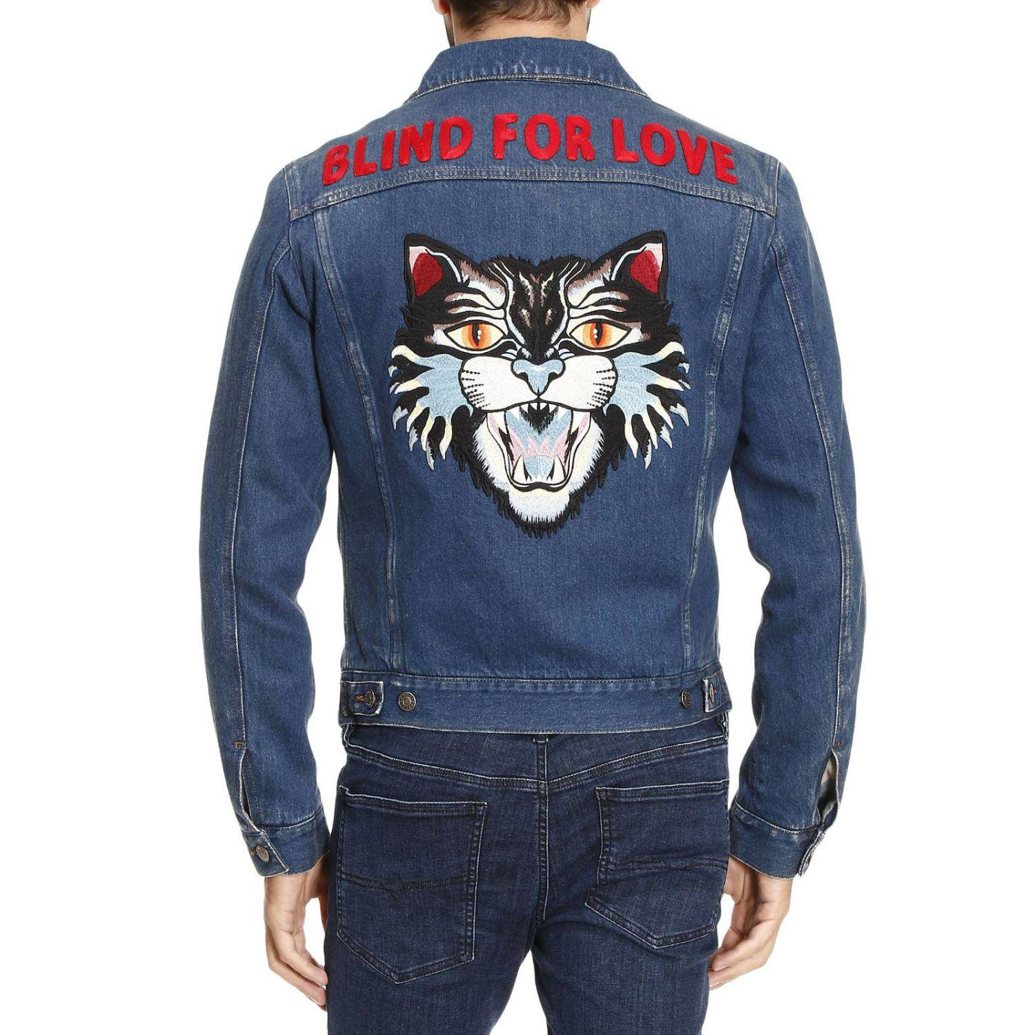 7ba3aa0e598 Lyst - Gucci Denim Jacket With Angry Cat And Blind For Love Maxi ...
