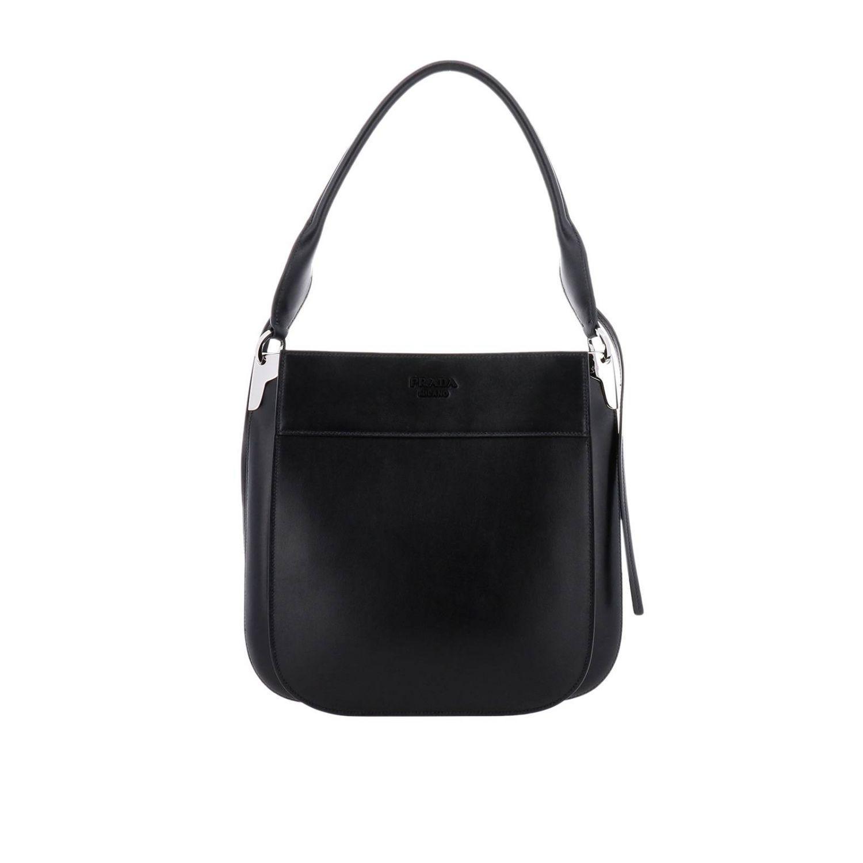 82de8ab305d9 Prada. Women's Black Margit Large Bag In Leather Bag With Monochrome Logo