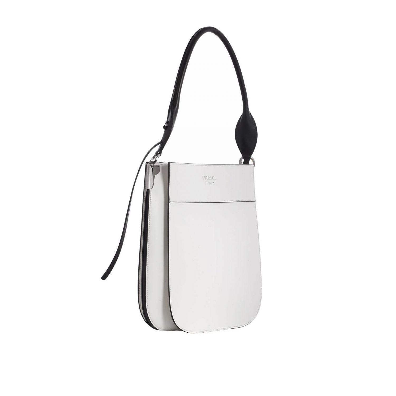 e60087499b5d Prada - White Margit Large Bag In Leather Bag With Monochrome Logo - Lyst.  View fullscreen
