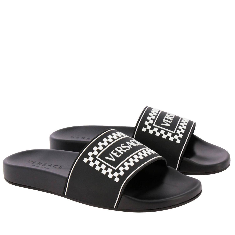 8f00faf2 Versace Black 90s Logo Slides in Black for Men - Save 40% - Lyst
