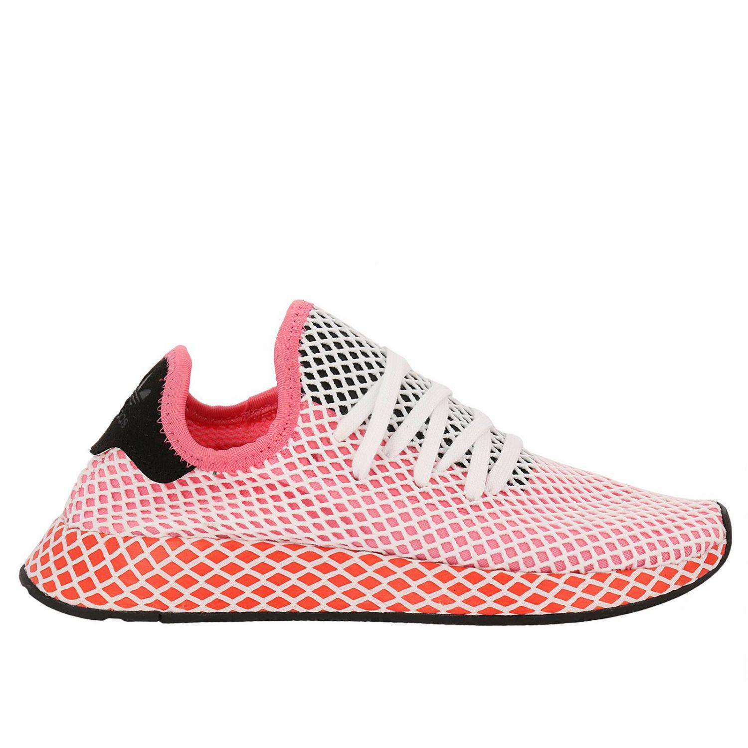 Adidas Originals Pink Adidas Deerupt Runner W Sneakers In Knit And Mesh Stretch Net Effect