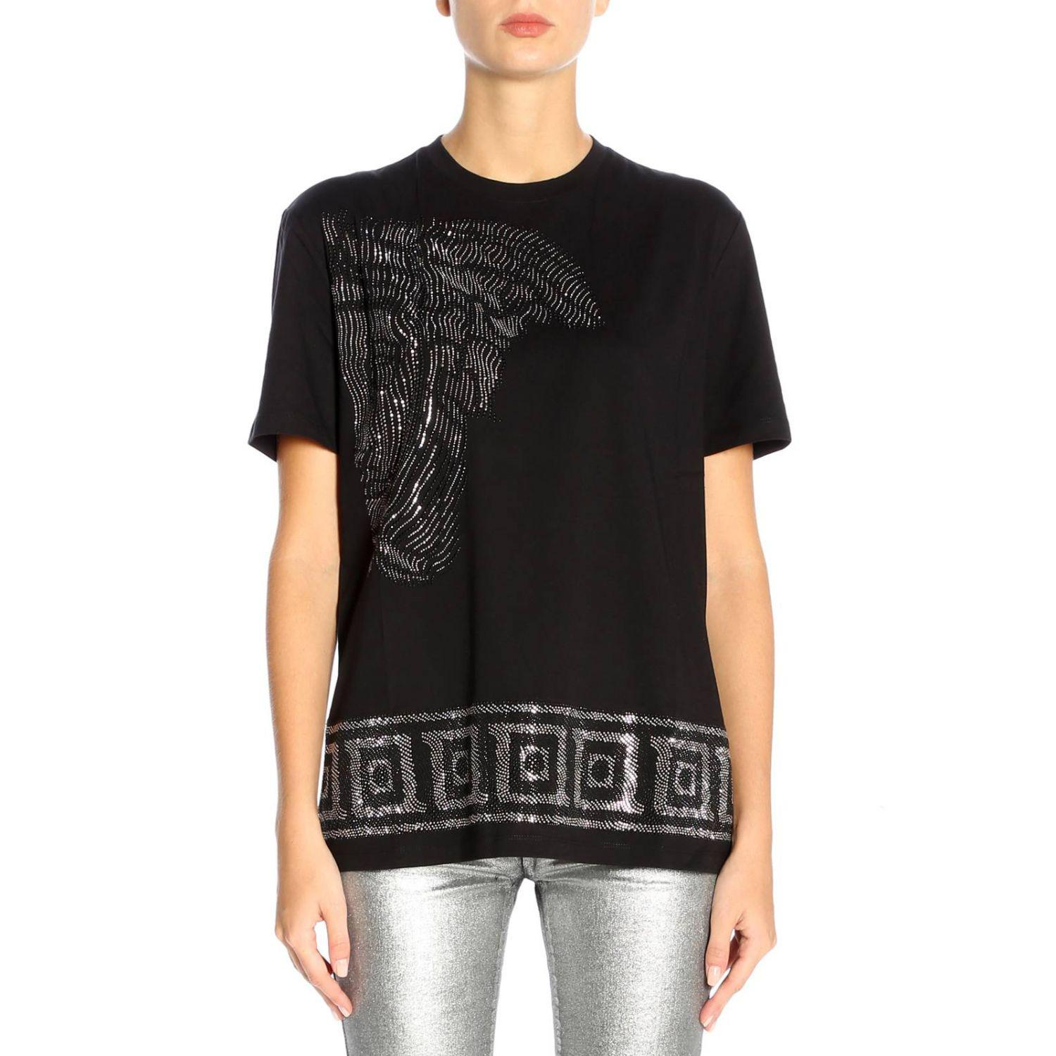 05f33798 Versace Cotton Crew Neck T-shirt With Medusa Logo in Black - Lyst