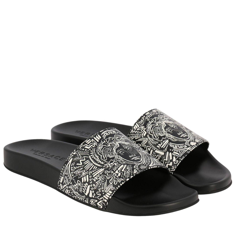 Chaussures Noir Homme En Lyst Coloris Versace Pour Sandales 7AwAxqv ... 2c9c38d0cac