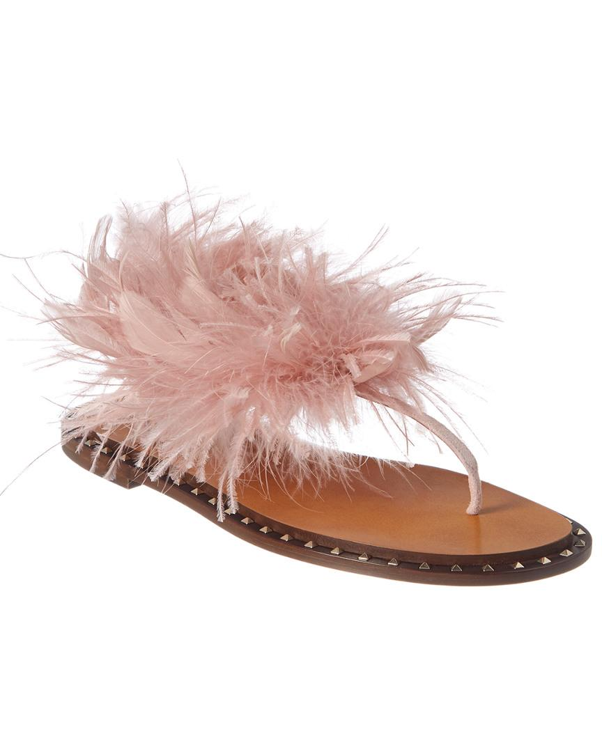 e0a1aa3e684a Lyst - Valentino Feather   Suede Flat Sandal in Pink - Save 21%