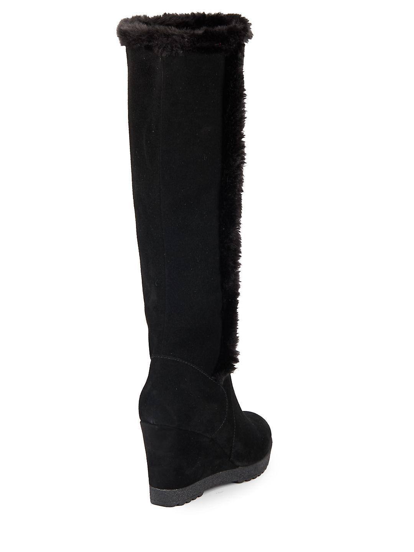 cc731907b62 Aquatalia Curran Faux Fur-trimmed Suede Tall Wedge Boots in Black - Lyst