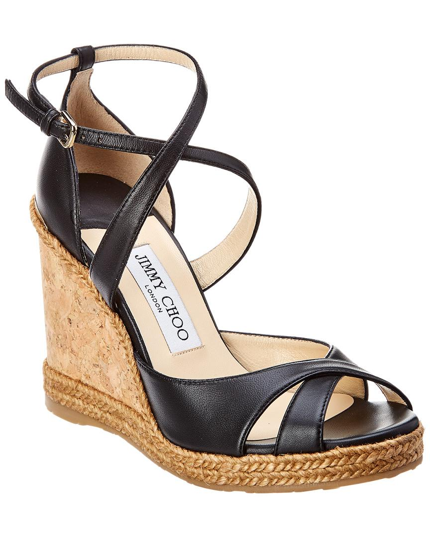 4b1293e5fa49 Jimmy Choo - Black Alanah 105 Leather Wedge Sandal - Lyst. View fullscreen