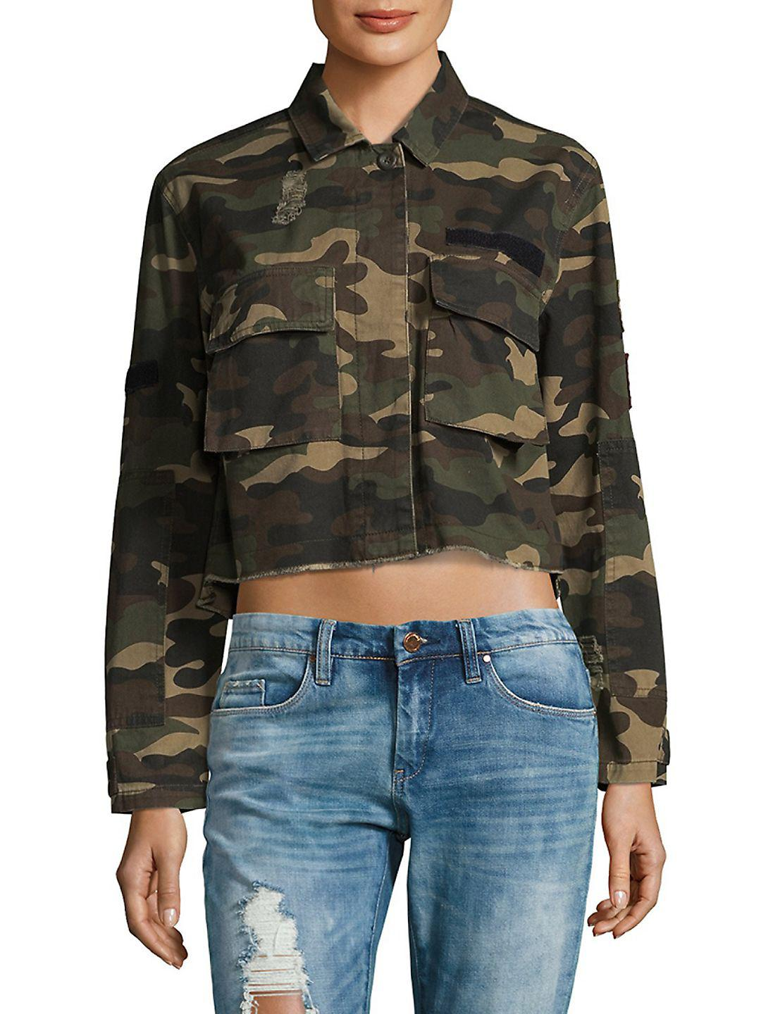 cedc7f3cdd814 Saks Fifth Avenue 2-pocket Camo Cotton Short Jacket in Green - Lyst