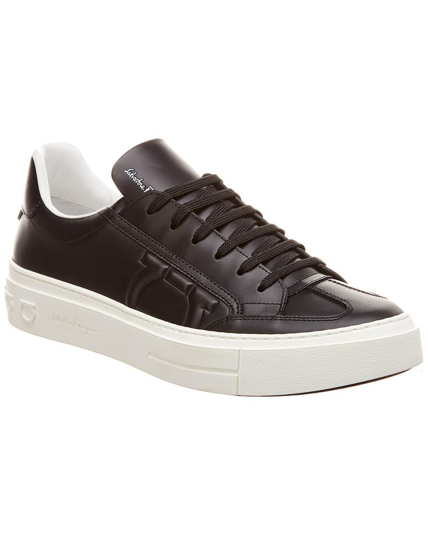 e852fb9a5243f Lyst - Ferragamo Gancini Leather Sneaker in Black for Men - Save ...