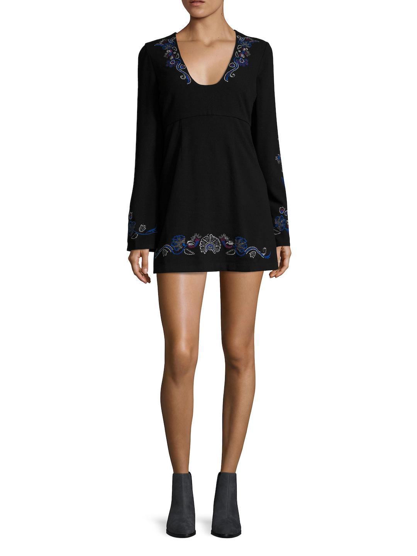 aa7b1ec8a1d1 Free People Holiday Folk Embroidered Mini Dress in Black - Lyst