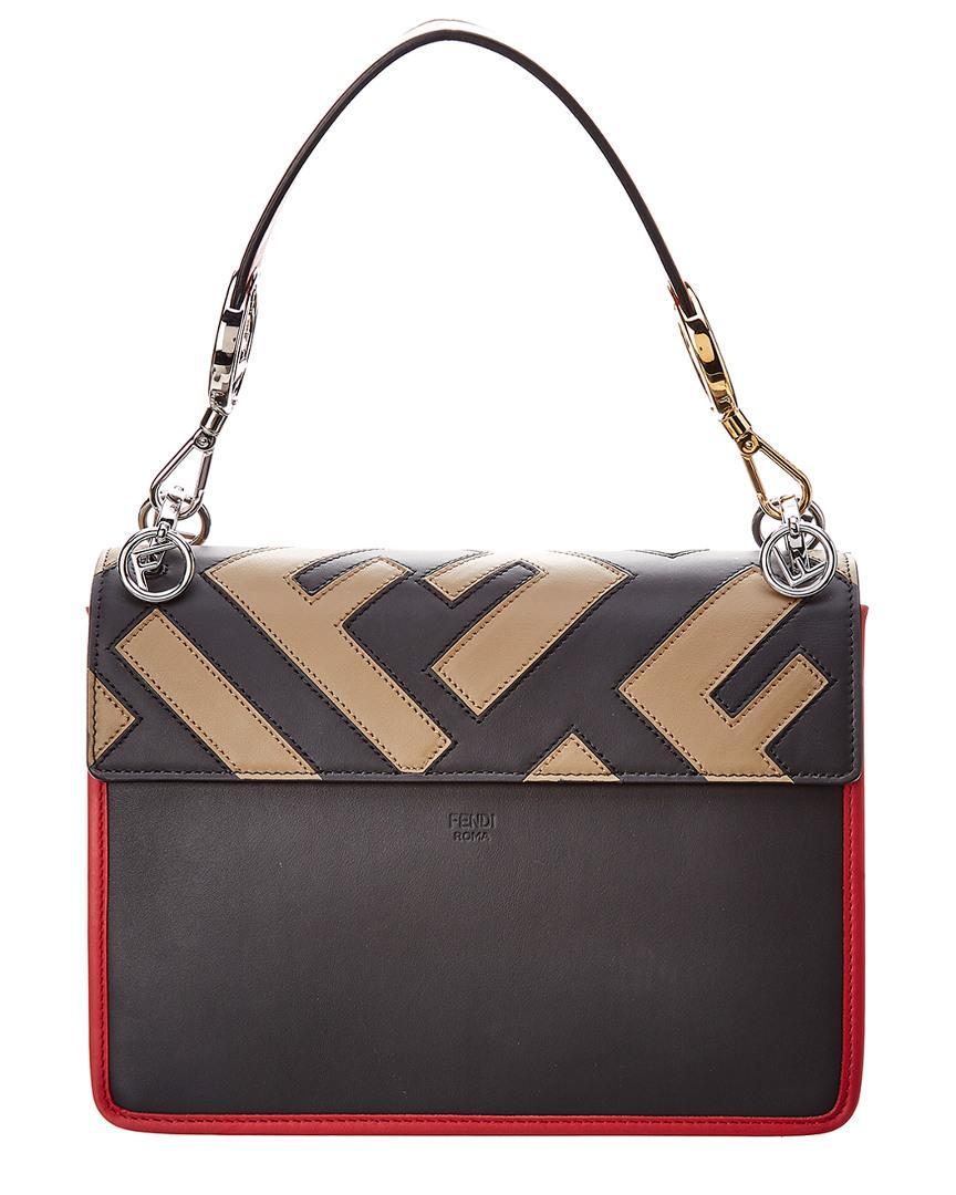 a13909f2428f Lyst - Fendi Medium Kan I Logo Patchwork Leather Bag in Black
