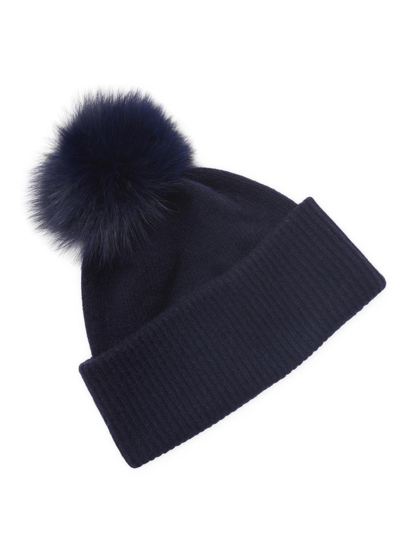 999e16517 Portolano Cashmere Fox Fur Pom Hat in Blue - Lyst