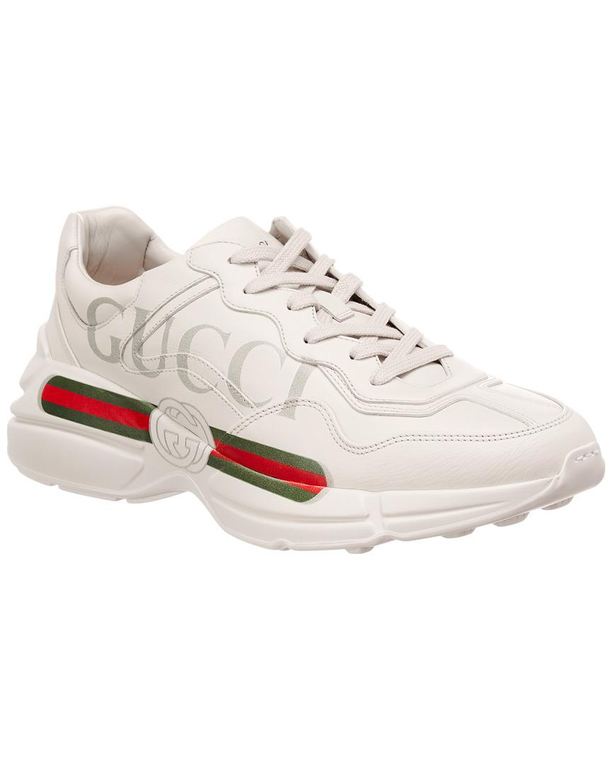 6ad09348811 Lyst - Gucci Logo Leather Sneaker in White for Men