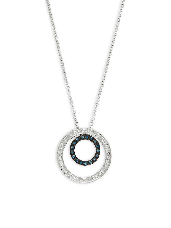 c4f6324b6762be Effy - White Diamond, Black Diamond, Blue Diamond And 14k White Gold  Necklace -