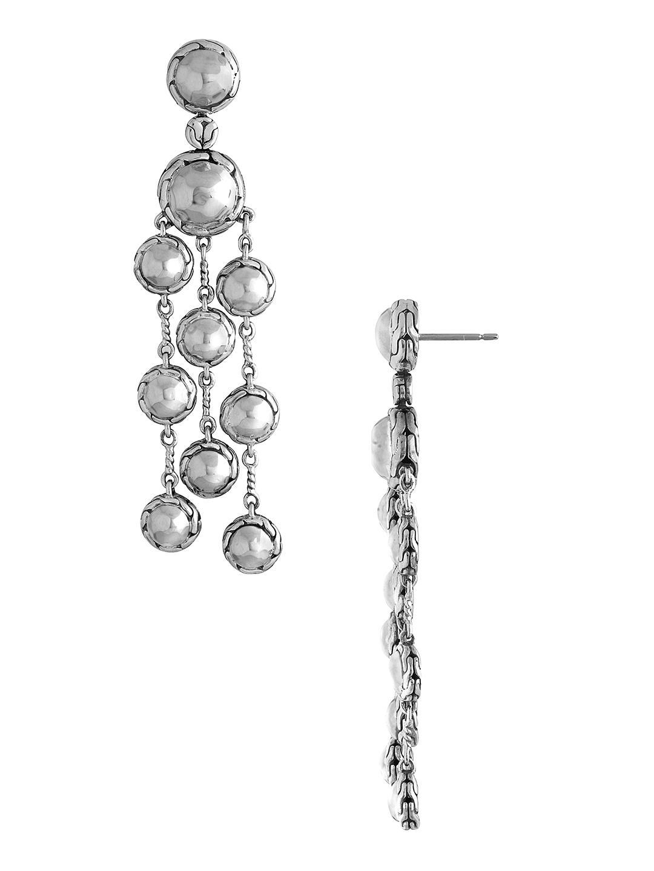 John hardy palu silver chandelier earrings in metallic lyst john hardy womens metallic palu silver chandelier earrings arubaitofo Images