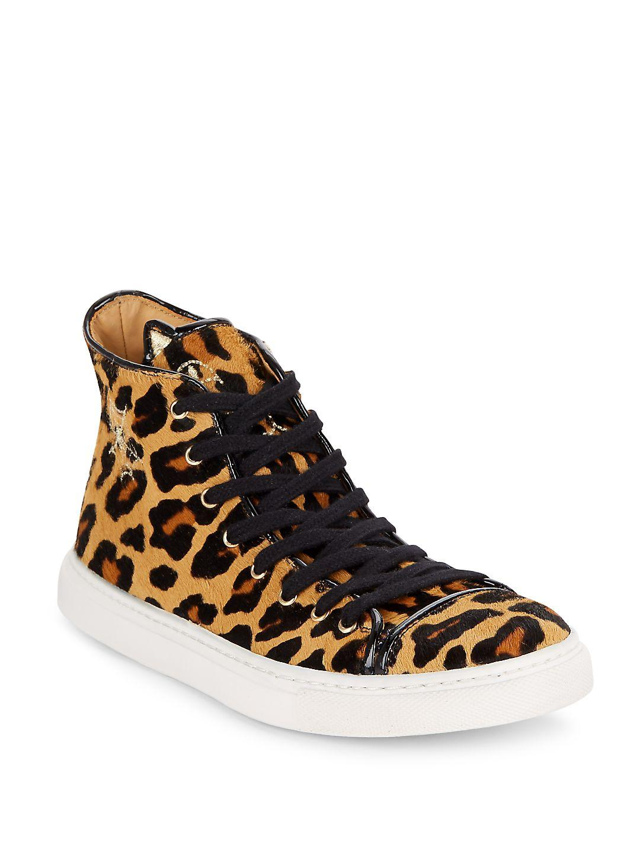 6fe24b442c42 Lyst - Charlotte Olympia Purrrfect Leopard-print Calf Hair High-top ...