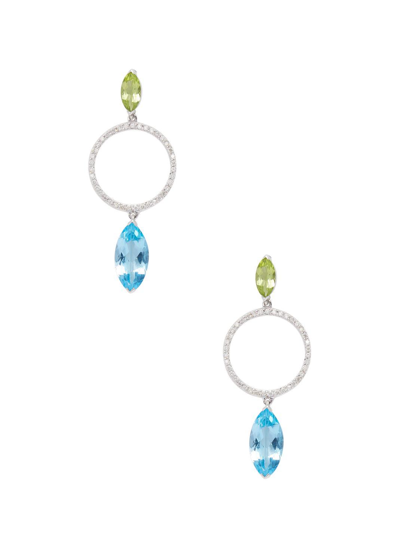 Lyst effy 14k white gold diamond blue topaz peridot peridot chandelier earrings lyst view fullscreen mozeypictures Choice Image