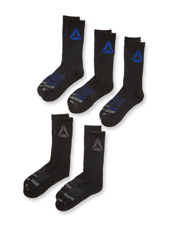 Lyst - Reebok Tiered Striped Mid Calf Socks (5 Pack) in Black for Men f5fa083b0