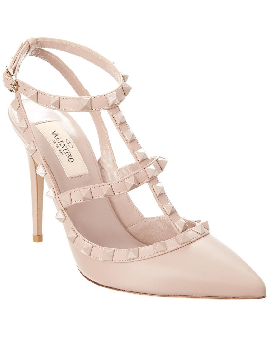 7169e1b1804 Valentino - Natural Laquered Rockstud 100 Leather Ankle Strap Pump - Lyst.  View fullscreen