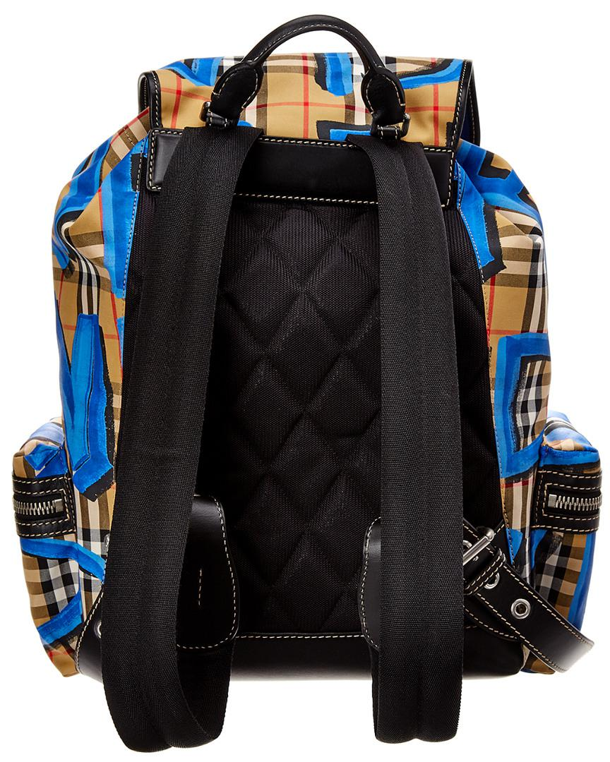 Lyst - Burberry Graffiti Print Vintage Check Large Rucksack in Blue for Men  - Save 66% 19c2e63bfb