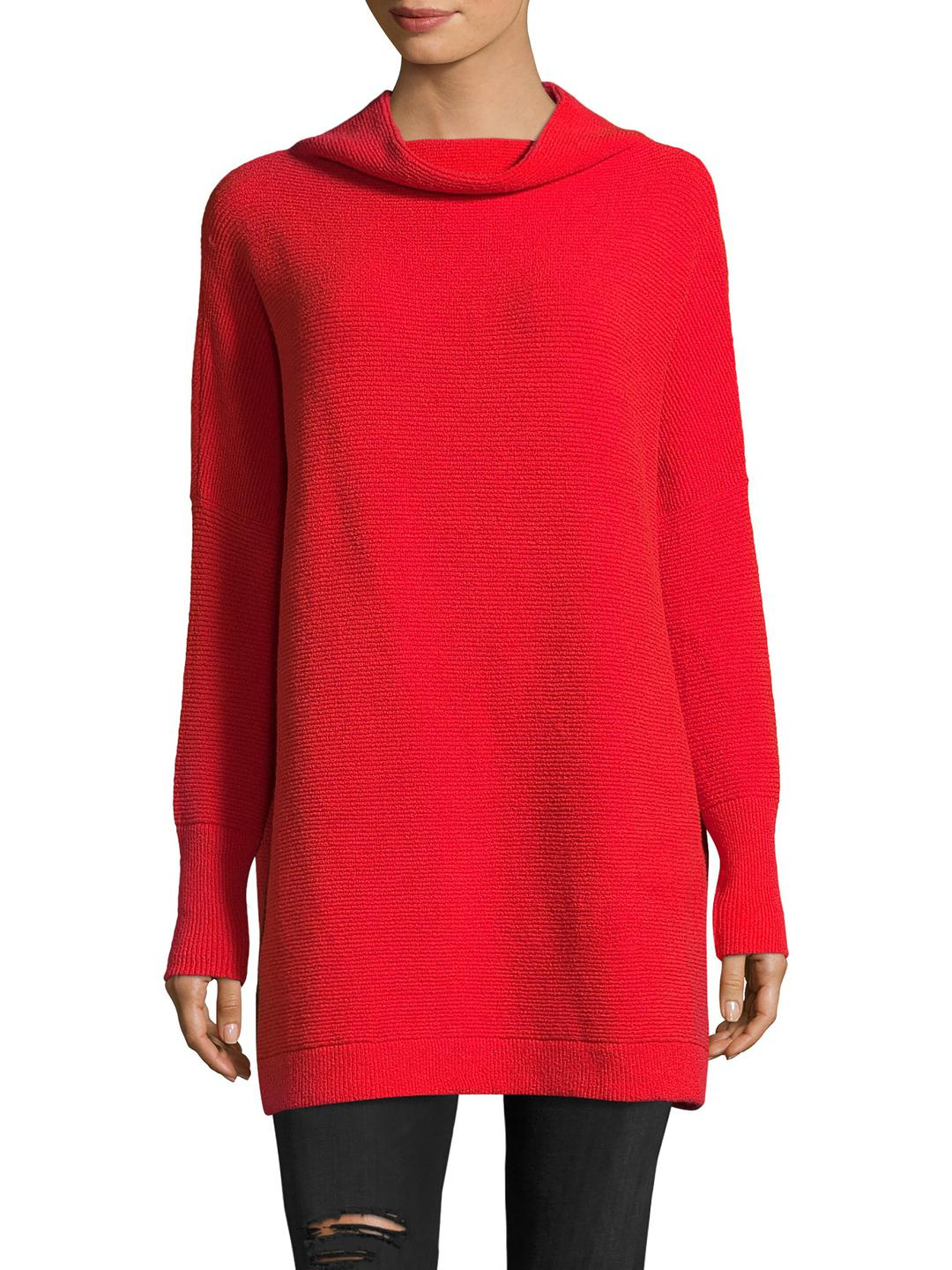 Free people Ribbed Knit Tunic in Red | Lyst