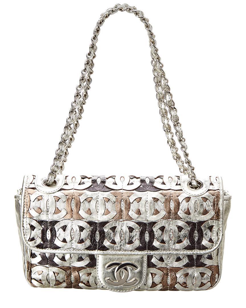 Chanel - Silver Metallic Leather Cc Cutout Jumbo Flap Bag - Lyst. View  fullscreen 1ba0907e927d9
