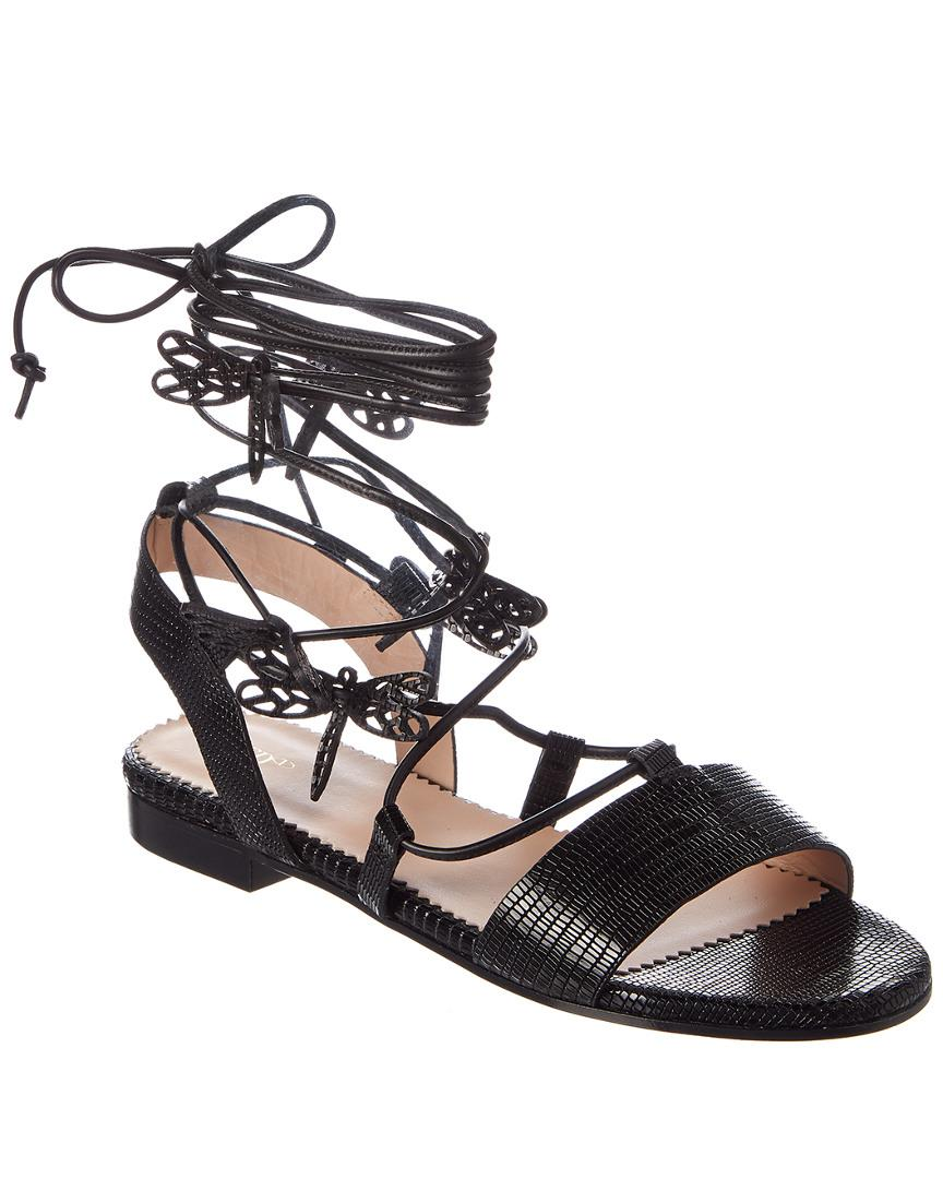 905b6cc27547 Lyst - RED Valentino Flying Up Leather Sandal in Black - Save 44%