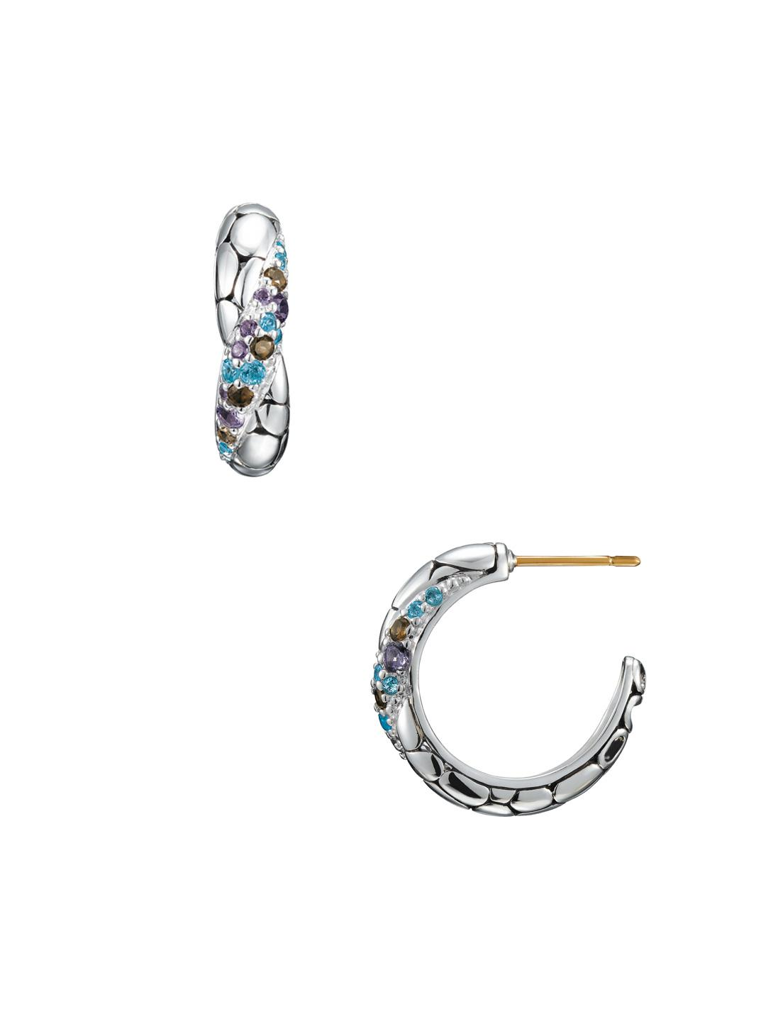 John Hardy Blue Topaz Medium Hoop Earrings tj9GOxcGFp